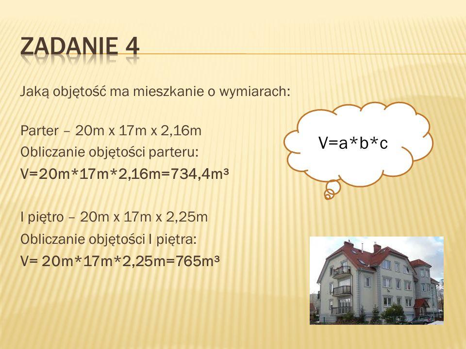 Jaką objętość ma mieszkanie o wymiarach: Parter – 20m x 17m x 2,16m Obliczanie objętości parteru: V=20m*17m*2,16m=734,4m³ I piętro – 20m x 17m x 2,25m