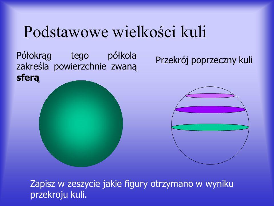 Kulą o środku O i promieniu R nazywamy zbiór wszystkich punktów w przestrzeni, których odległość od punktu O jest nie większa od R. Kula jest figurą o