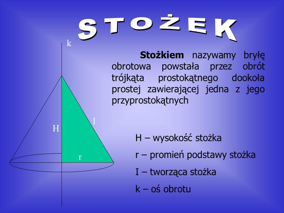 Stożkiem nazywamy bryłę obrotowa powstała przez obrót trójkąta prostokątnego dookoła prostej zawierającej jedna z jego przyprostokątnych H r l k H – wysokość stożka r – promień podstawy stożka I – tworząca stożka k – oś obrotu