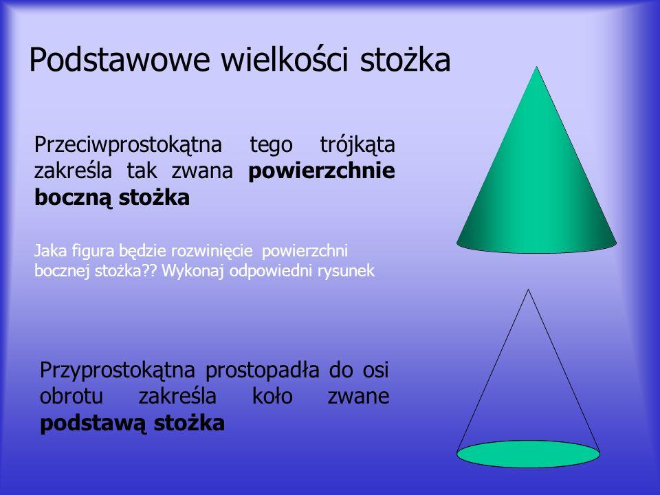 Stożkiem nazywamy bryłę obrotowa powstała przez obrót trójkąta prostokątnego dookoła prostej zawierającej jedna z jego przyprostokątnych H r l k H – w