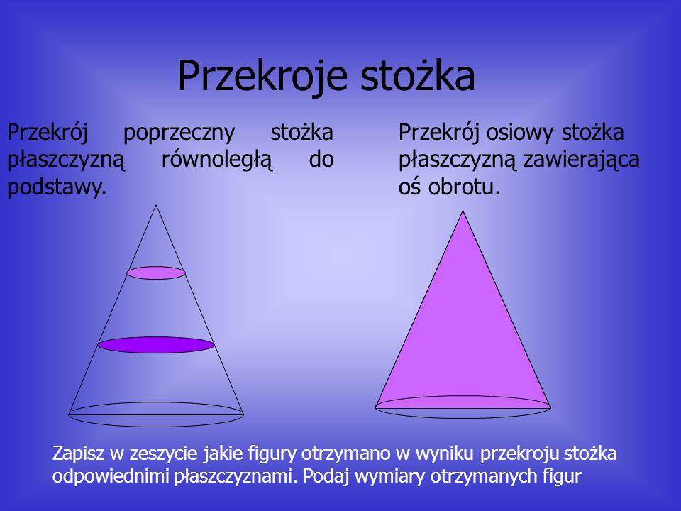 Podstawowe wielkości stożka Przeciwprostokątna tego trójkąta zakreśla tak zwana powierzchnie boczną stożka Przyprostokątna prostopadła do osi obrotu z