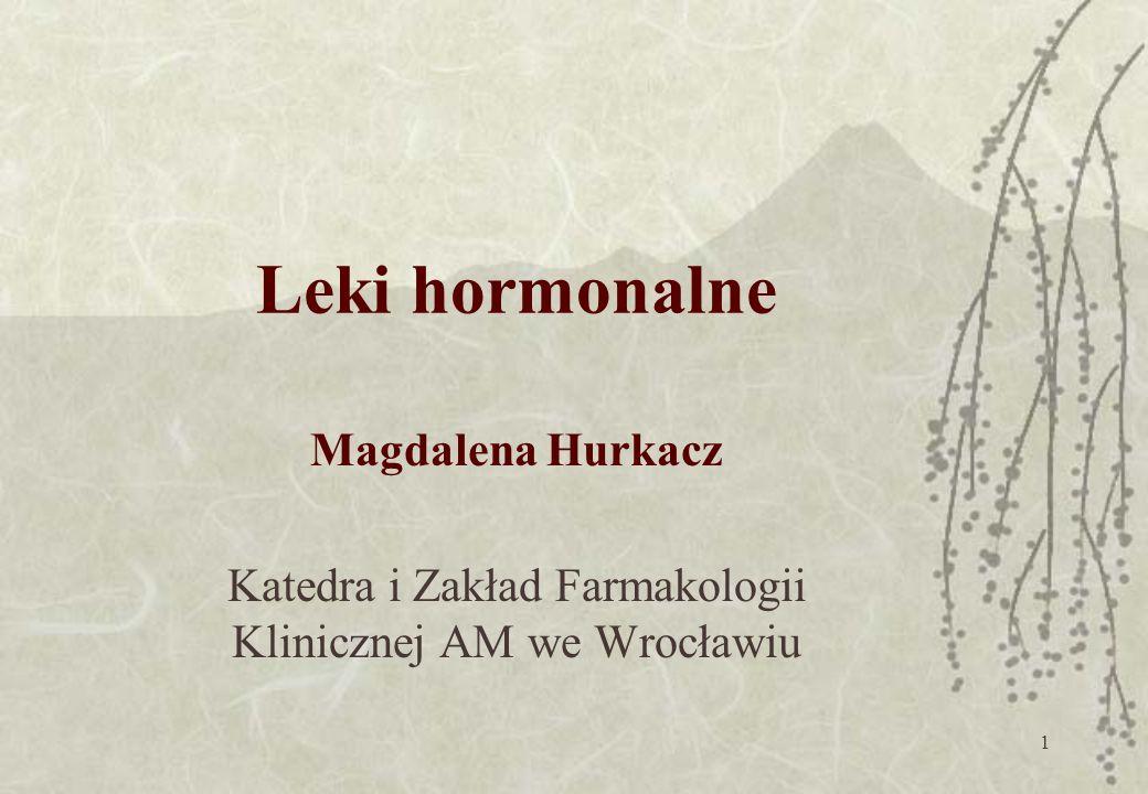 1 Leki hormonalne Magdalena Hurkacz Katedra i Zakład Farmakologii Klinicznej AM we Wrocławiu