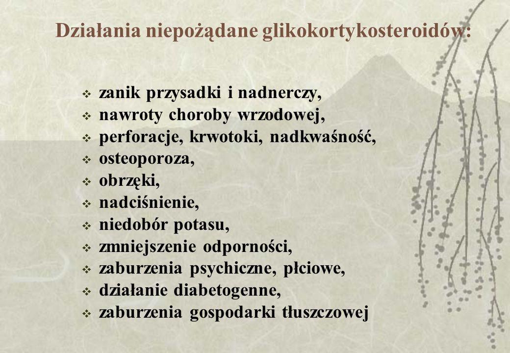 Działania niepożądane glikokortykosteroidów: zanik przysadki i nadnerczy, nawroty choroby wrzodowej, perforacje, krwotoki, nadkwaśność, osteoporoza, o