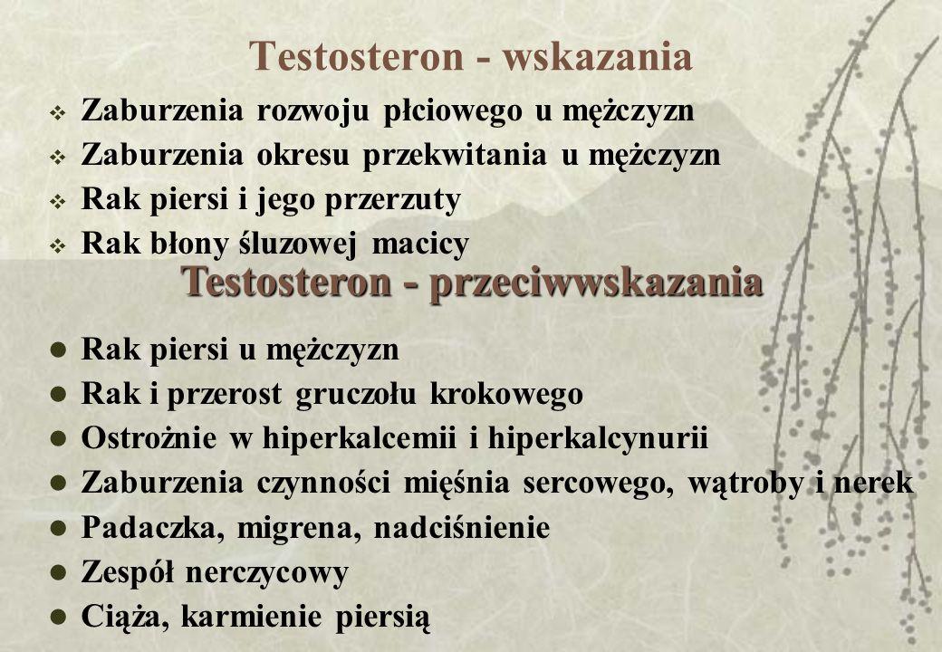 Testosteron - wskazania Zaburzenia rozwoju płciowego u mężczyzn Zaburzenia okresu przekwitania u mężczyzn Rak piersi i jego przerzuty Rak błony śluzow