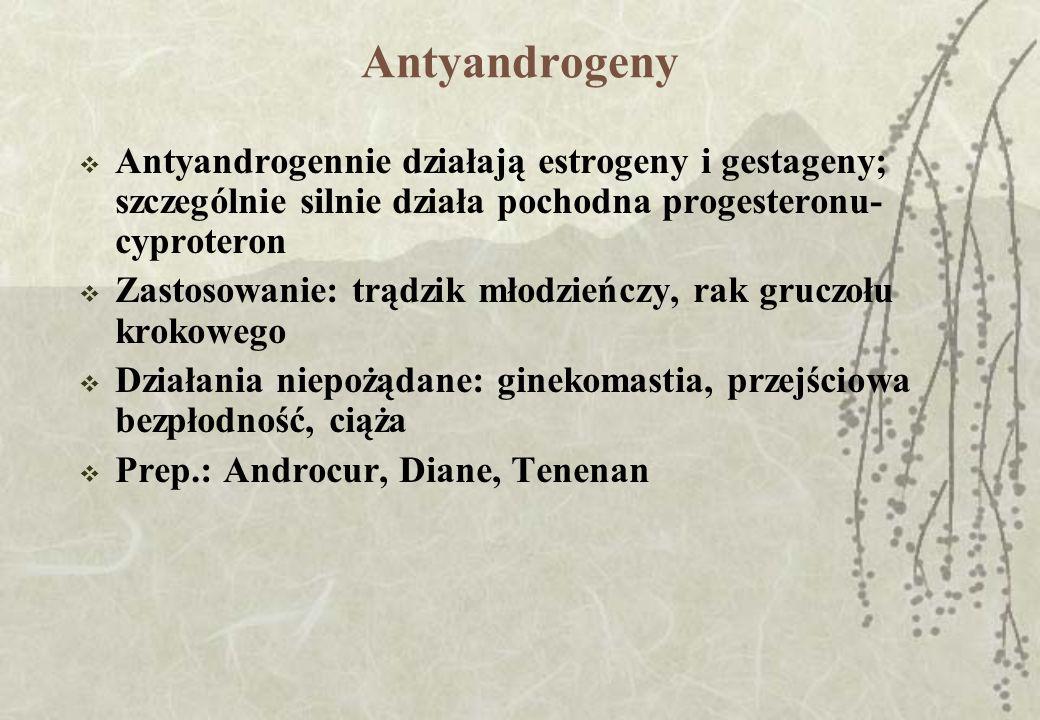 Antyandrogeny Antyandrogennie działają estrogeny i gestageny; szczególnie silnie działa pochodna progesteronu- cyproteron Zastosowanie: trądzik młodzi
