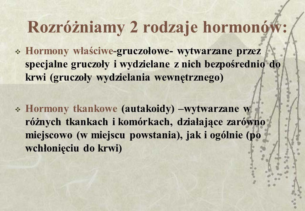 Rozróżniamy 2 rodzaje hormonów: Hormony właściwe-gruczołowe- wytwarzane przez specjalne gruczoły i wydzielane z nich bezpośrednio do krwi (gruczoły wy