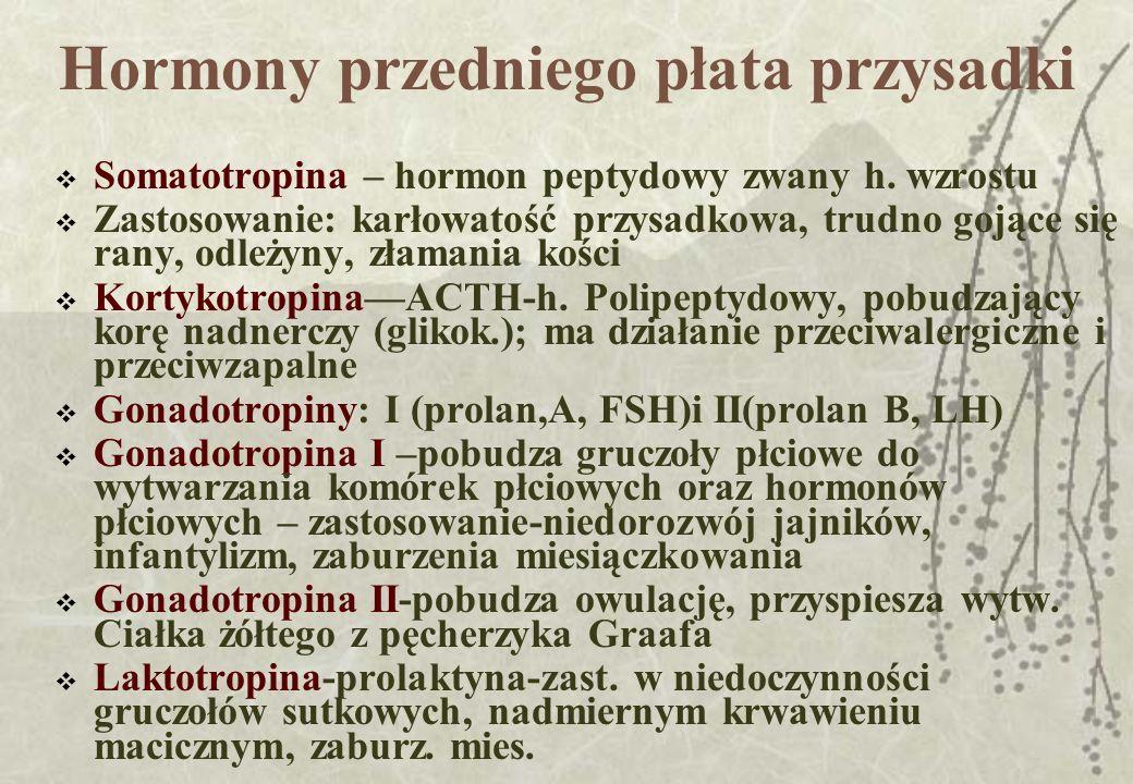Hormony przedniego płata przysadki Somatotropina – hormon peptydowy zwany h. wzrostu Zastosowanie: karłowatość przysadkowa, trudno gojące się rany, od
