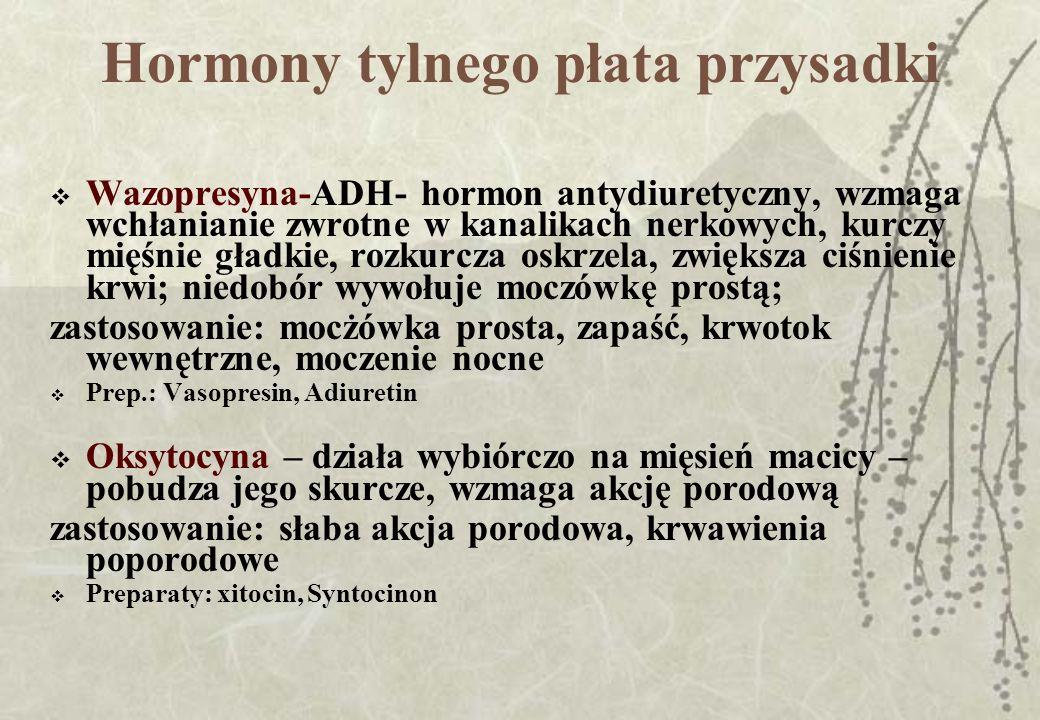 Hormony tarczycy Tarczyca wytwarza 3 hormony: tyroksynę, -zwiększającą szybkość przemian katabolicznych Zast.:substytucyjne Prep.: Thyreoideum, L-Thyroxin(Vobenol, Eferox, Eltroxin) Prep.