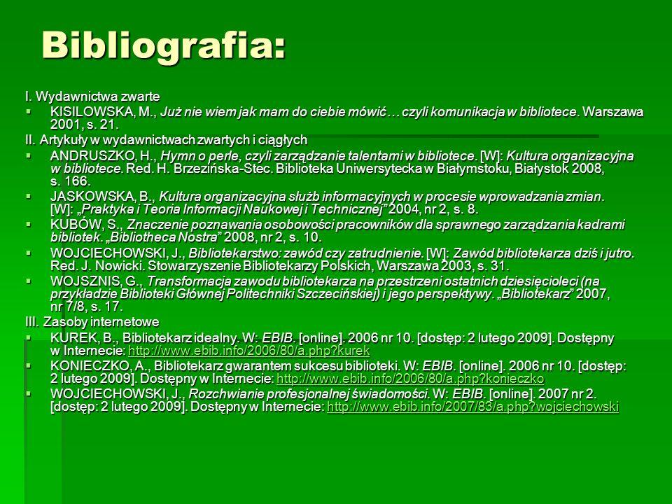 Bibliografia: I.