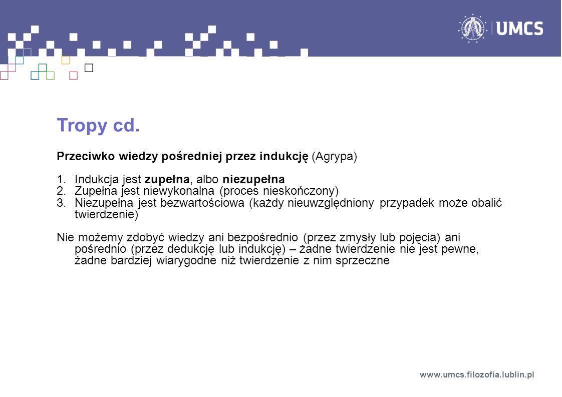 Tropy cd. Przeciwko wiedzy pośredniej przez indukcję (Agrypa) 1.Indukcja jest zupełna, albo niezupełna 2.Zupełna jest niewykonalna (proces nieskończon