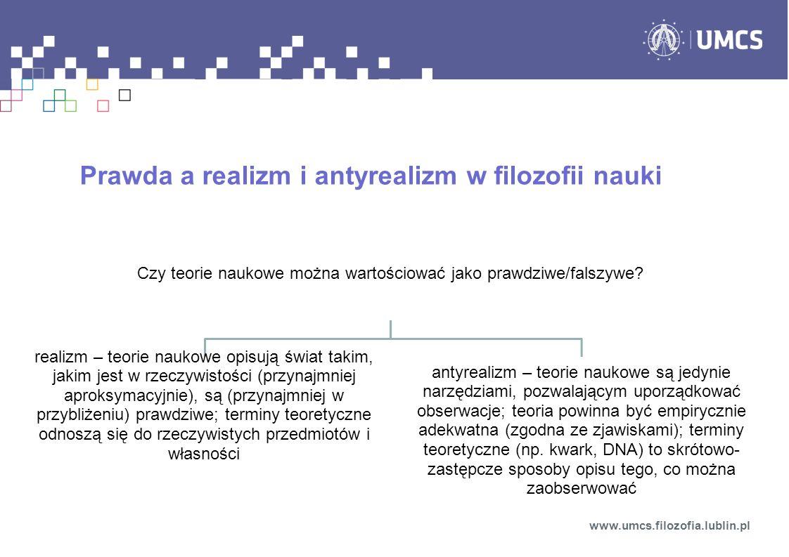 Prawda a realizm i antyrealizm w filozofii nauki www.umcs.filozofia.lublin.pl Czy teorie naukowe można wartościować jako prawdziwe/falszywe? realizm –