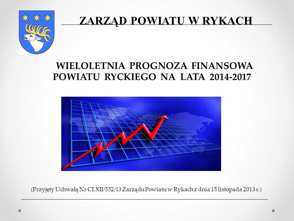 (Przyjęty Uchwałą Nr CLXII/552/13 Zarządu Powiatu w Rykach z dnia 15 listopada 2013 r.) WIELOLETNIA PROGNOZA FINANSOWA POWIATU RYCKIEGO NA LATA 2014-2017 ZARZĄD POWIATU W RYKACH