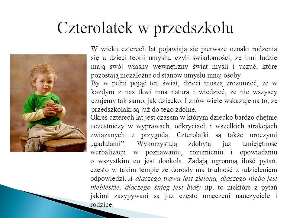 W wieku czterech lat pojawiają się pierwsze oznaki rodzenia się u dzieci teorii umysłu, czyli świadomości, że inni ludzie mają swój własny wewnętrzny