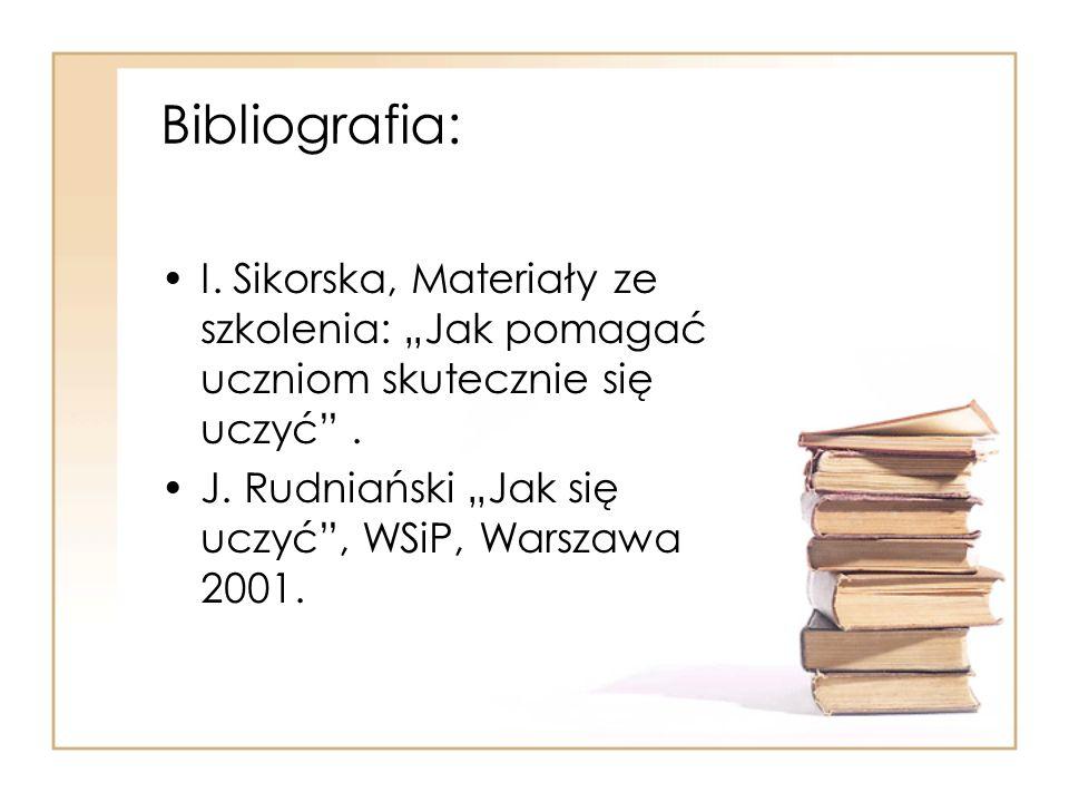 Bibliografia: I. Sikorska, Materiały ze szkolenia: Jak pomagać uczniom skutecznie się uczyć. J. Rudniański Jak się uczyć, WSiP, Warszawa 2001.