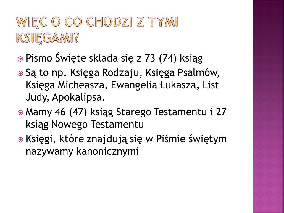 Pismo Święte składa się z 73 (74) ksiąg Są to np. Księga Rodzaju, Księga Psalmów, Księga Micheasza, Ewangelia Łukasza, List Judy, Apokalipsa. Mamy 46