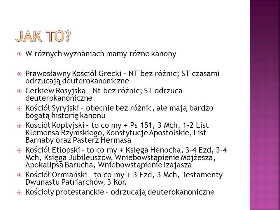 W różnych wyznaniach mamy różne kanony Prawosławny Kościół Grecki – NT bez różnic; ST czasami odrzucają deuterokanoniczne Cerkiew Rosyjska – Nt bez ró