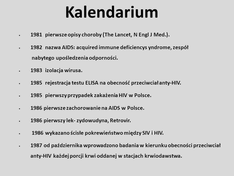 1981 pierwsze opisy choroby (The Lancet, N Engl J Med.). 1982 nazwa AIDS: acquired immune deficiencys yndrome, zespół nabytego upośledzenia odporności