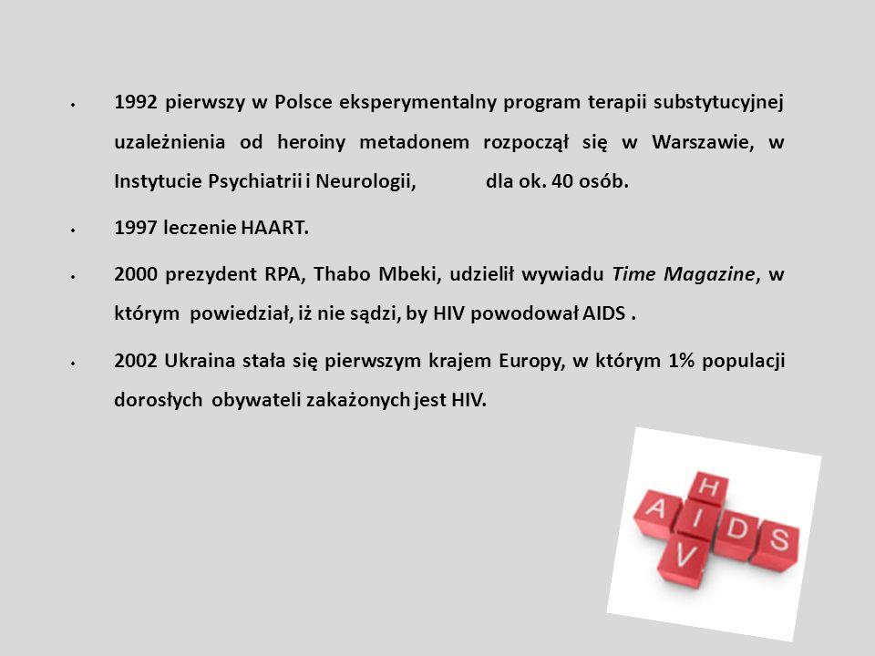 1992 pierwszy w Polsce eksperymentalny program terapii substytucyjnej uzależnienia od heroiny metadonem rozpoczął się w Warszawie, w Instytucie Psychi