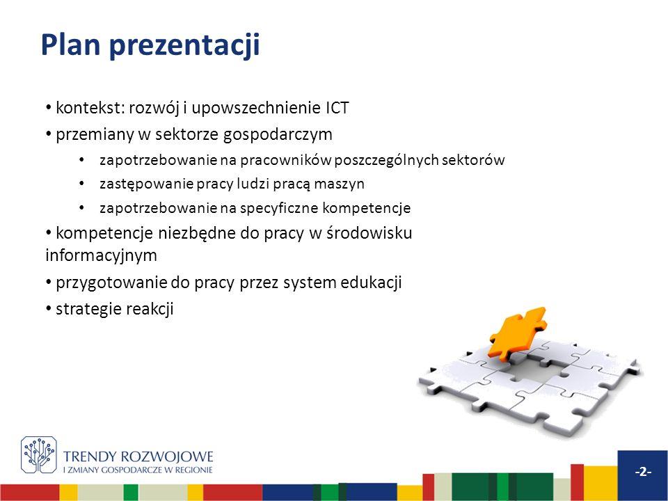Plan prezentacji kontekst: rozwój i upowszechnienie ICT przemiany w sektorze gospodarczym zapotrzebowanie na pracowników poszczególnych sektorów zastę