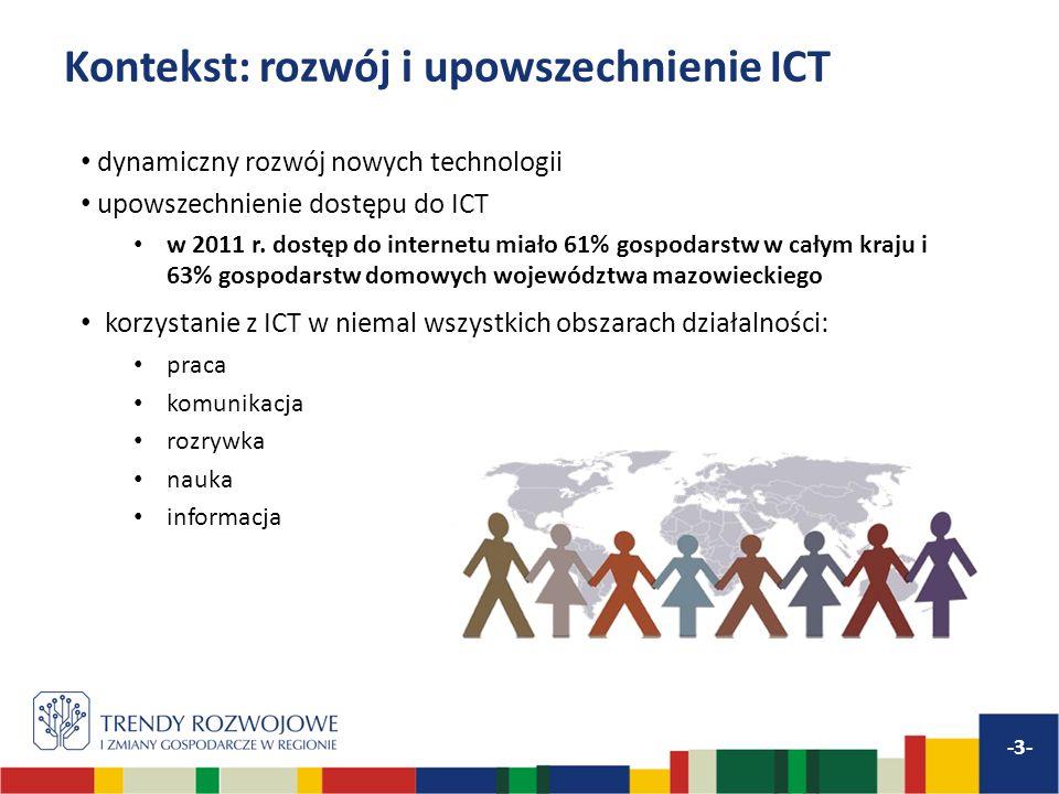 Kontekst: rozwój i upowszechnienie ICT dynamiczny rozwój nowych technologii upowszechnienie dostępu do ICT w 2011 r. dostęp do internetu miało 61% gos