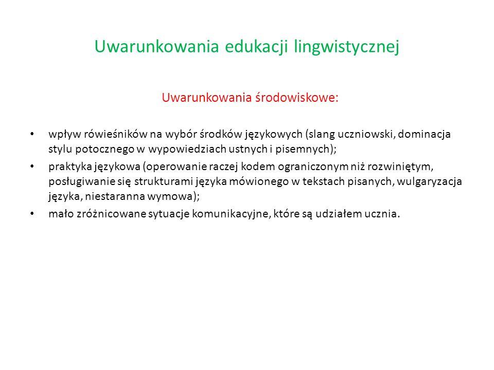 Uwarunkowania środowiskowe: wpływ rówieśników na wybór środków językowych (slang uczniowski, dominacja stylu potocznego w wypowiedziach ustnych i pise