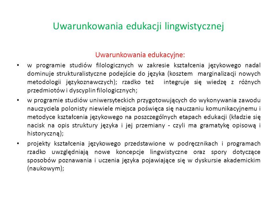 Uwarunkowania edukacyjne: w programie studiów filologicznych w zakresie kształcenia językowego nadal dominuje strukturalistyczne podejście do języka (