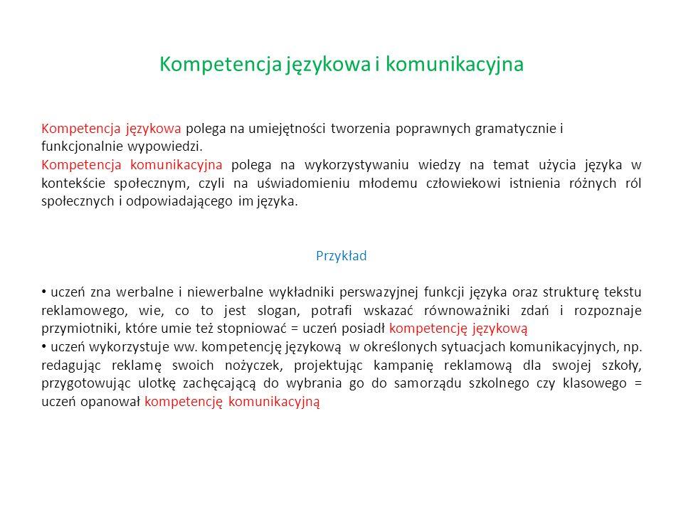 Kompetencja językowa polega na umiejętności tworzenia poprawnych gramatycznie i funkcjonalnie wypowiedzi. Kompetencja komunikacyjna polega na wykorzys