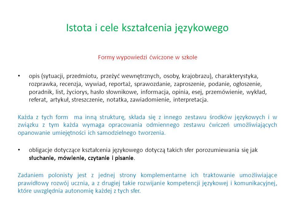 Formy wypowiedzi ćwiczone w szkole opis (sytuacji, przedmiotu, przeżyć wewnętrznych, osoby, krajobrazu), charakterystyka, rozprawka, recenzja, wywiad,