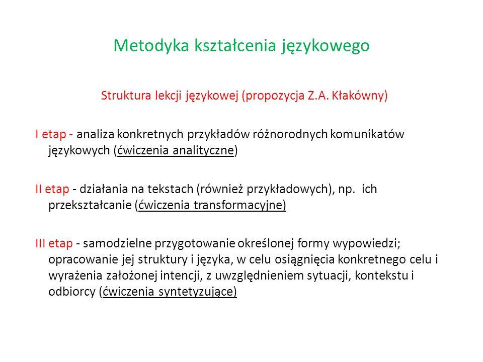 Struktura lekcji językowej (propozycja Z.A. Kłakówny) I etap - analiza konkretnych przykładów różnorodnych komunikatów językowych (ćwiczenia analitycz