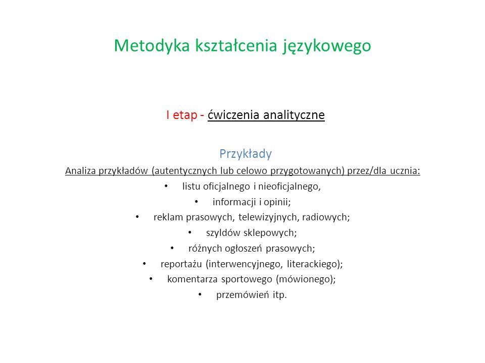 I etap - ćwiczenia analityczne Przykłady Analiza przykładów (autentycznych lub celowo przygotowanych) przez/dla ucznia: listu oficjalnego i nieoficjal