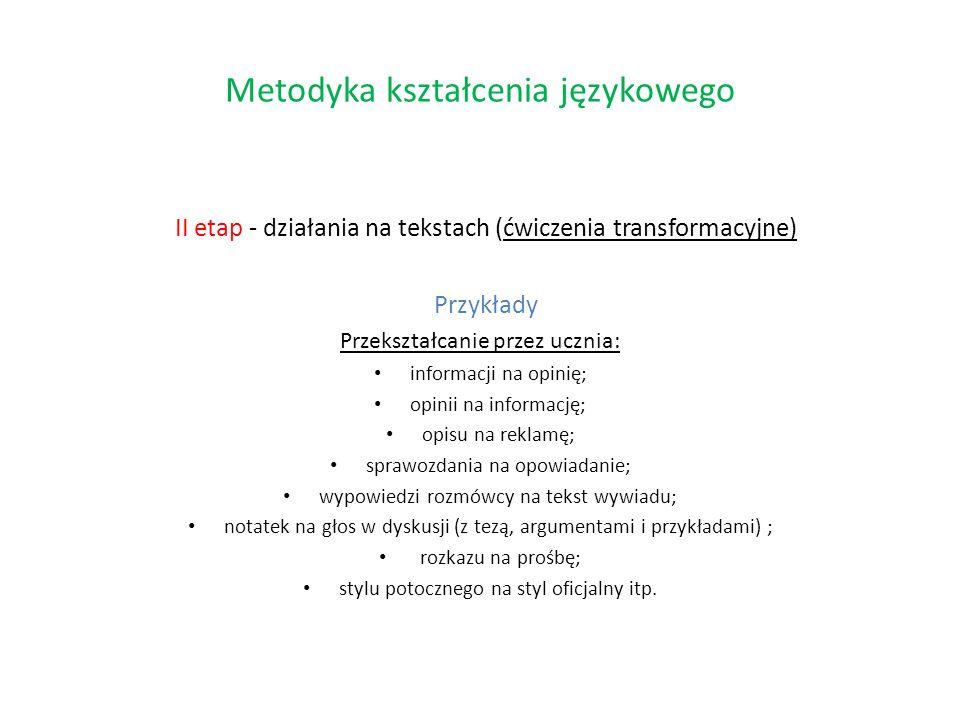 II etap - działania na tekstach (ćwiczenia transformacyjne) Przykłady Przekształcanie przez ucznia: informacji na opinię; opinii na informację; opisu
