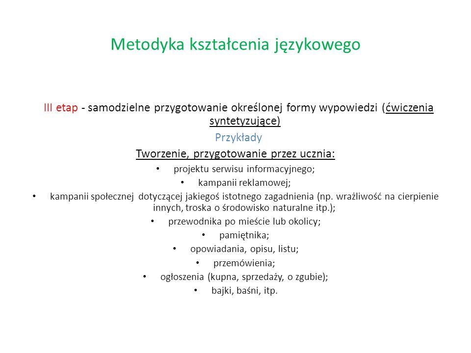 III etap - samodzielne przygotowanie określonej formy wypowiedzi (ćwiczenia syntetyzujące) Przykłady Tworzenie, przygotowanie przez ucznia: projektu s