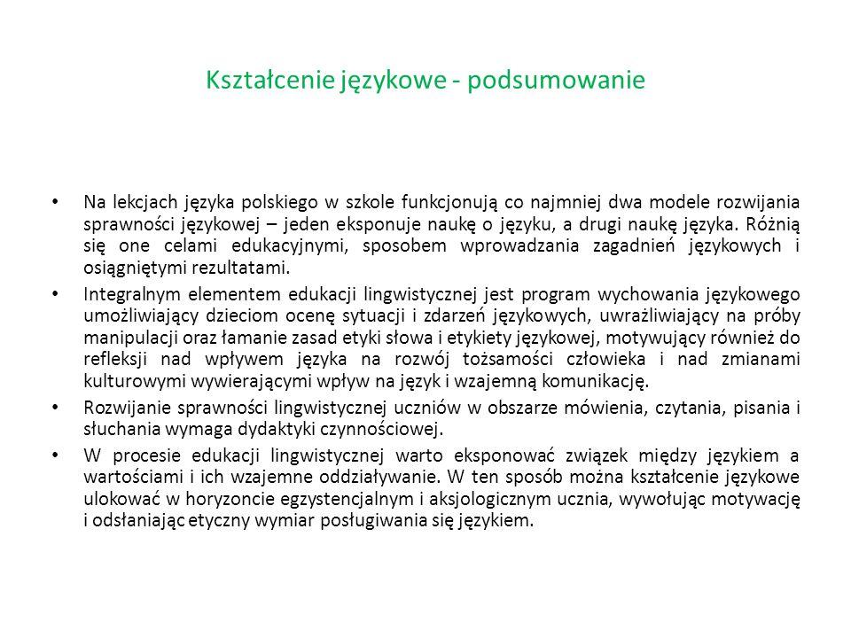 Na lekcjach języka polskiego w szkole funkcjonują co najmniej dwa modele rozwijania sprawności językowej – jeden eksponuje naukę o języku, a drugi nau