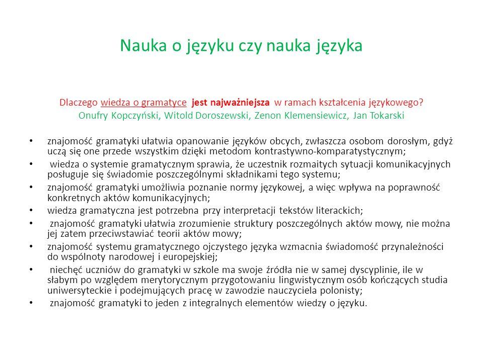 Dlaczego wiedza o gramatyce jest najważniejsza w ramach kształcenia językowego? Onufry Kopczyński, Witold Doroszewski, Zenon Klemensiewicz, Jan Tokars