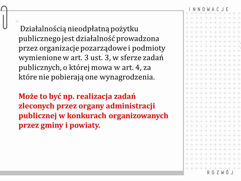 Działalnością nieodpłatną pożytku publicznego jest działalność prowadzona przez organizacje pozarządowe i podmioty wymienione w art.