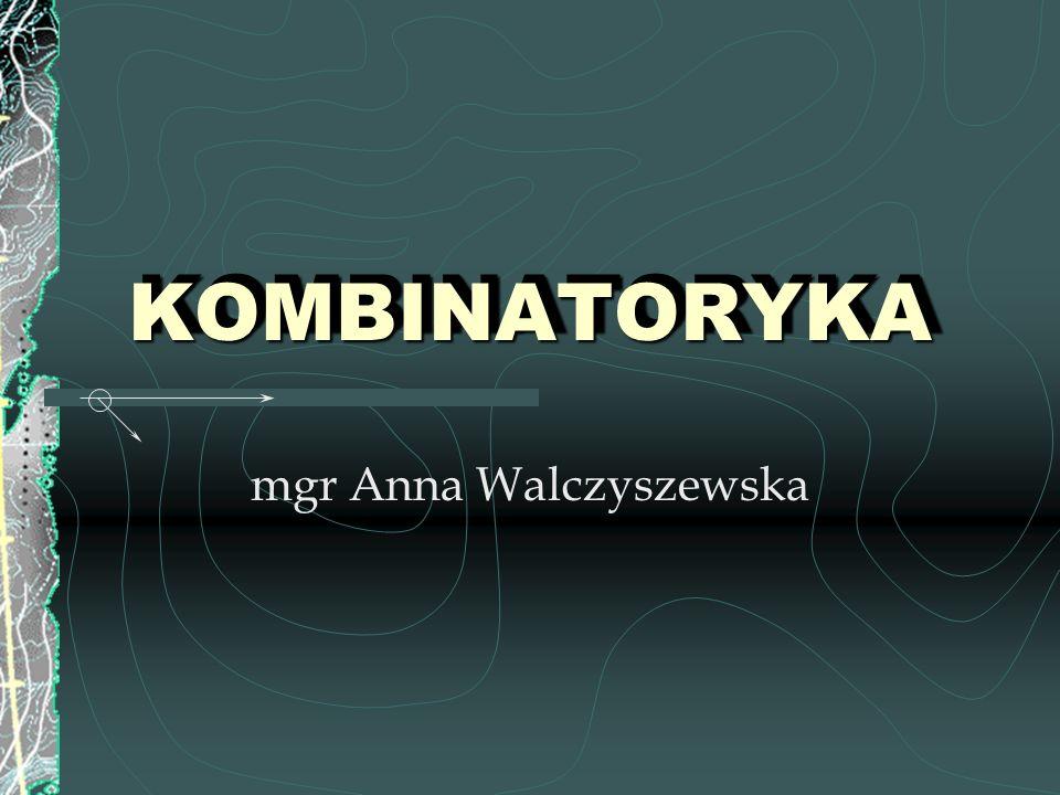 KombinatorykaKombinatoryka PERMUTACJE WARIACJE Z POWTÓRZENIAMI WARIACJE Z POWTÓRZENIAMI WARIACJE BEZ POWTORZEŃ WARIACJE BEZ POWTORZEŃ KOMBINACJE ZADANIA PROGRAM – ELEMENTY KOMBINATORYKI PROGRAM – ELEMENTY KOMBINATORYKI Kombinatoryką nazywamy dział matematyki zajmujący się wyznaczaniem liczby elementów zbiorów skończonych utworzonych zgodnie z określonymi zasadami.