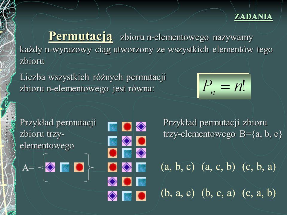 Wariacją k-wyrazową z powtórzeniami zbioru n-elementowego nazywamy każdy k-wyrazowy ciąg, którego wyrazami są elementy danego zbioru Liczba wszystkich różnych k-wyrazowych wariacji z powtórzeniami zbioru n-elementowego jest równa: Przykłady dwu-wyrazowej wariacji z powtórzeniami zbioru trzy-elementowego A= k = 2, n = 3 B={a, b, c} (a, a) (b, a) (c, a) (b, b) (c, b) (a, b) (c, c) (b, c) (a, c) ZADANIA