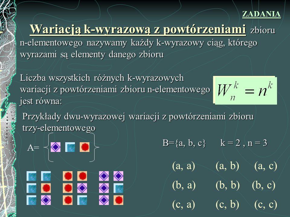Wariacją k-wyrazową bez powtórzeń zbioru n-elementowego nazywamy każdy k-wyrazowy ciąg o nie powtarzających się wyrazach, którego wyrazami są elementy danego zbioru.