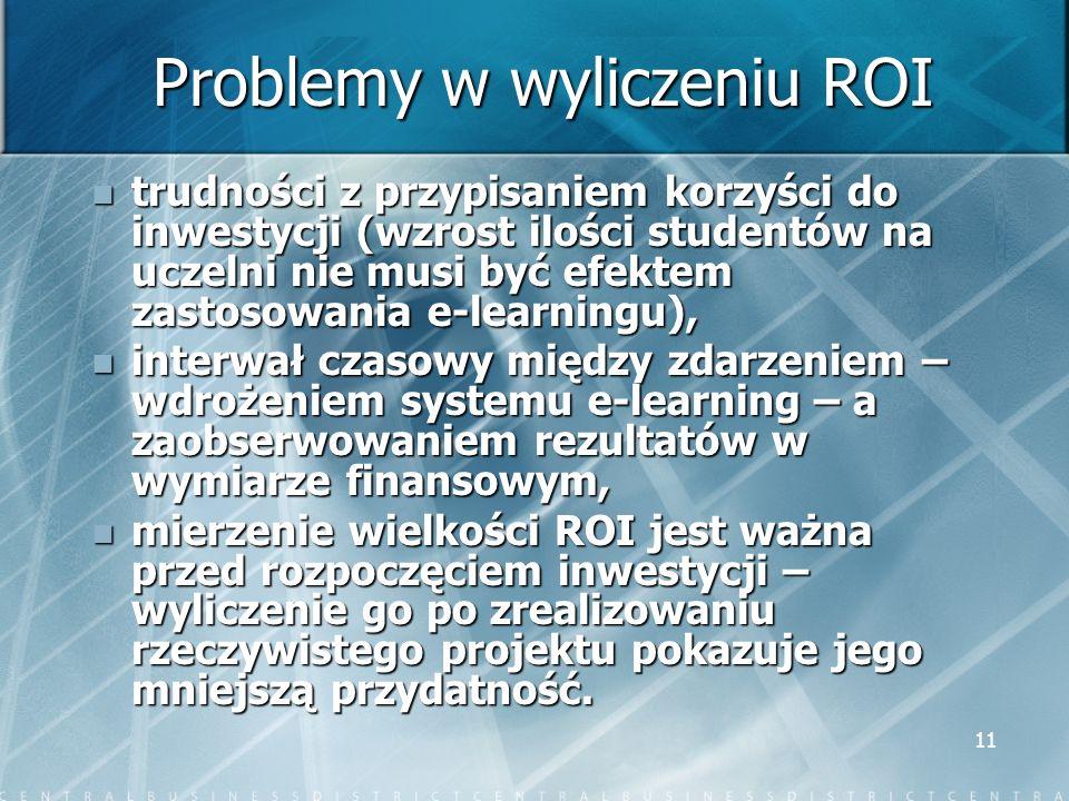 11 Problemy w wyliczeniu ROI trudności z przypisaniem korzyści do inwestycji (wzrost ilości studentów na uczelni nie musi być efektem zastosowania e-l