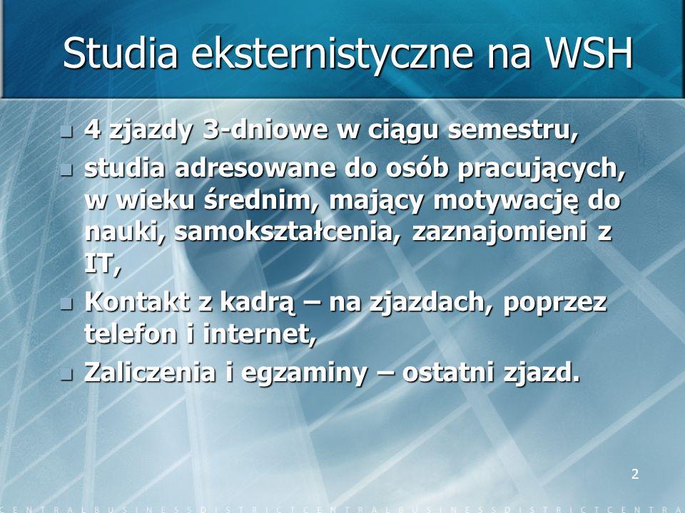 2 Studia eksternistyczne na WSH 4 zjazdy 3-dniowe w ciągu semestru, 4 zjazdy 3-dniowe w ciągu semestru, studia adresowane do osób pracujących, w wieku