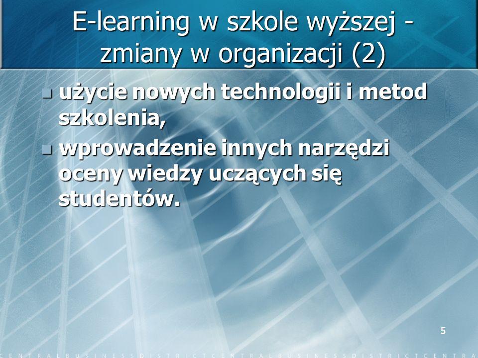 5 E-learning w szkole wyższej - zmiany w organizacji (2) użycie nowych technologii i metod szkolenia, użycie nowych technologii i metod szkolenia, wpr