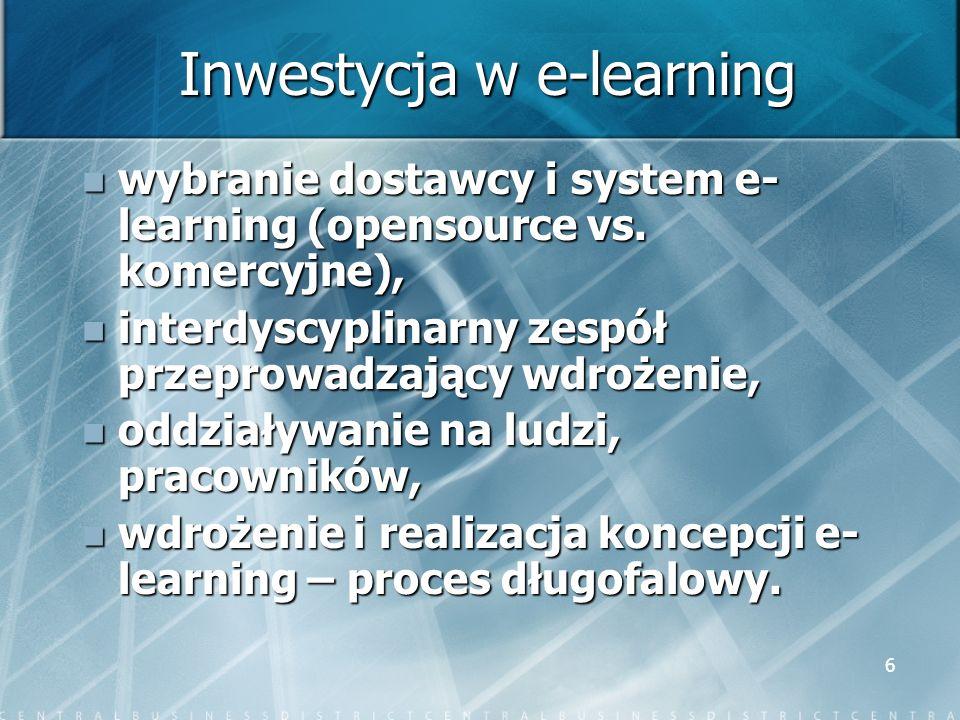 6 Inwestycja w e-learning wybranie dostawcy i system e- learning (opensource vs. komercyjne), wybranie dostawcy i system e- learning (opensource vs. k