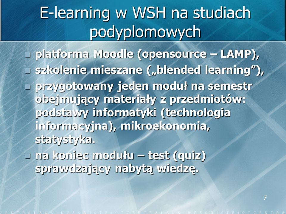 7 E-learning w WSH na studiach podyplomowych platforma Moodle (opensource – LAMP), platforma Moodle (opensource – LAMP), szkolenie mieszane (blended l