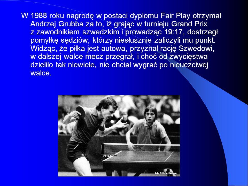 W 1988 roku nagrodę w postaci dyplomu Fair Play otrzymał Andrzej Grubba za to, iż grając w turnieju Grand Prix z zawodnikiem szwedzkim i prowadząc 19: