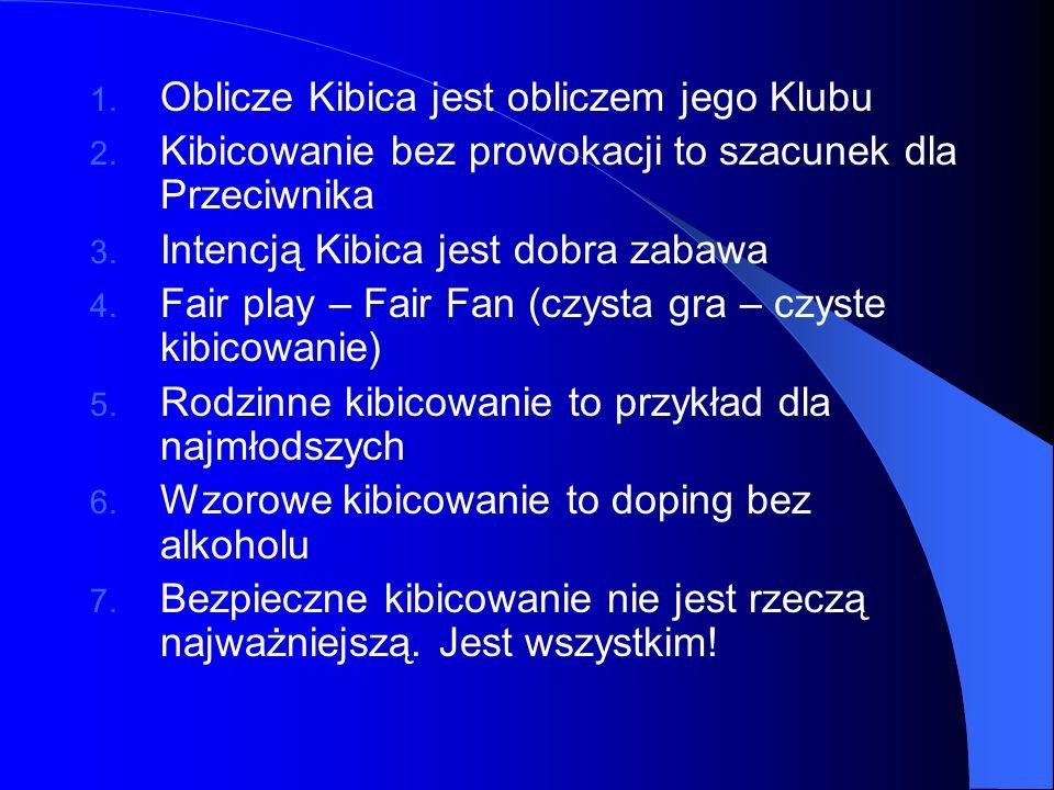 1. Oblicze Kibica jest obliczem jego Klubu 2. Kibicowanie bez prowokacji to szacunek dla Przeciwnika 3. Intencją Kibica jest dobra zabawa 4. Fair play