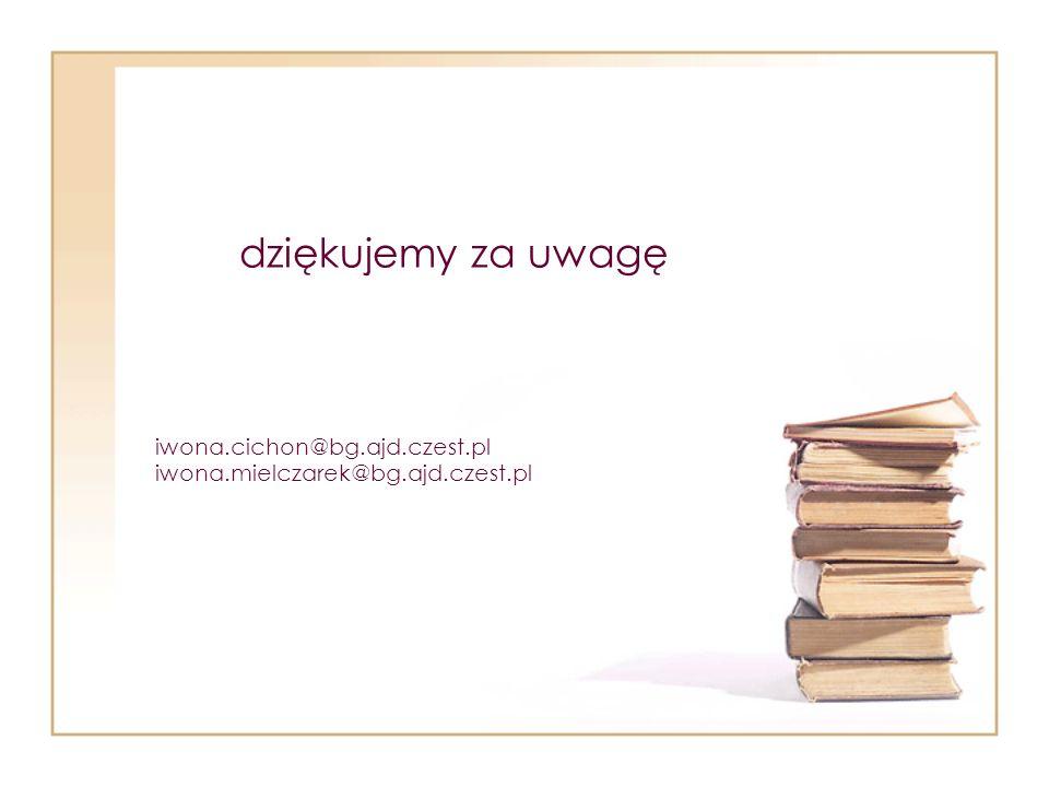 iwona.cichon@bg.ajd.czest.pl iwona.mielczarek@bg.ajd.czest.pl dziękujemy za uwagę