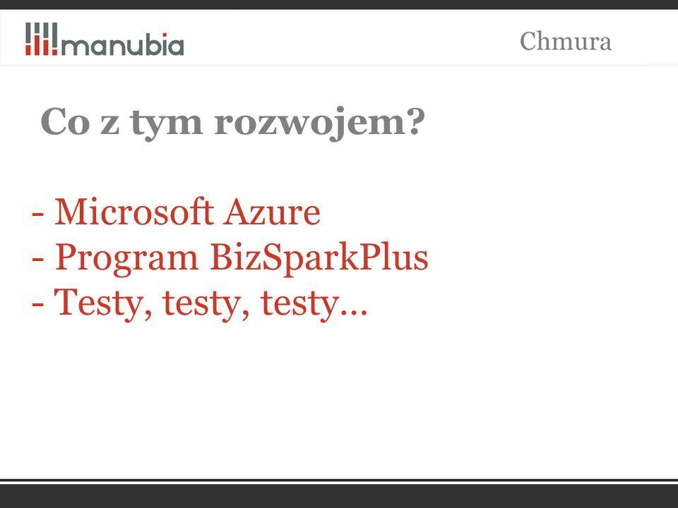 Co z tym rozwojem - Microsoft Azure - Program BizSparkPlus - Testy, testy, testy…