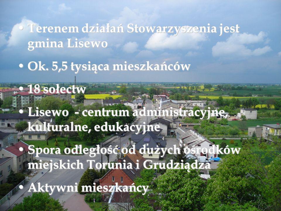 Terenem działań Stowarzyszenia jest gmina Lisewo Terenem działań Stowarzyszenia jest gmina Lisewo Ok. 5,5 tysiąca mieszkańców Ok. 5,5 tysiąca mieszkań