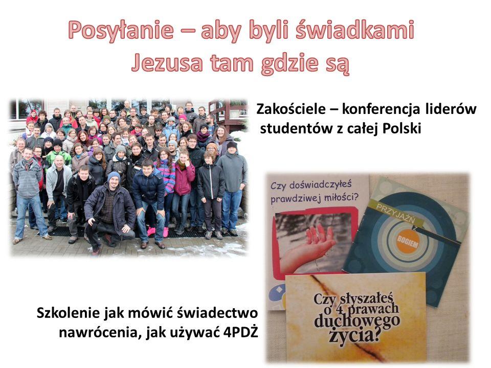 Zakościele – konferencja liderów studentów z całej Polski Szkolenie jak mówić świadectwo nawrócenia, jak używać 4PDŻ