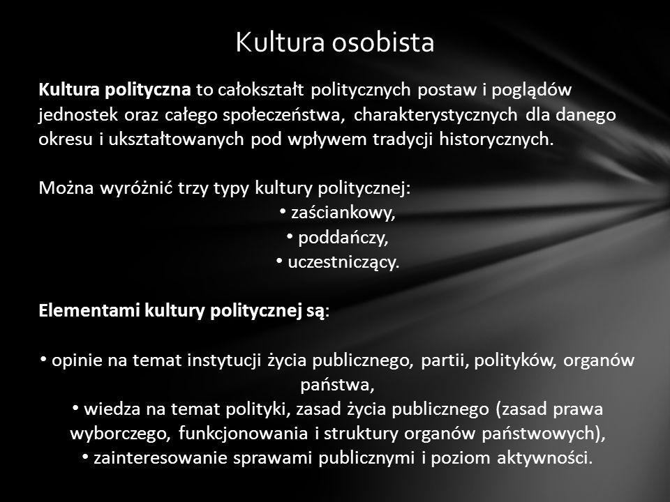 Kultura osobista Kultura polityczna to całokształt politycznych postaw i poglądów jednostek oraz całego społeczeństwa, charakterystycznych dla danego